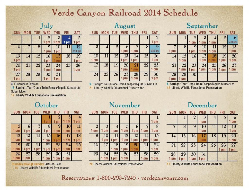 2014 calendar July-dec