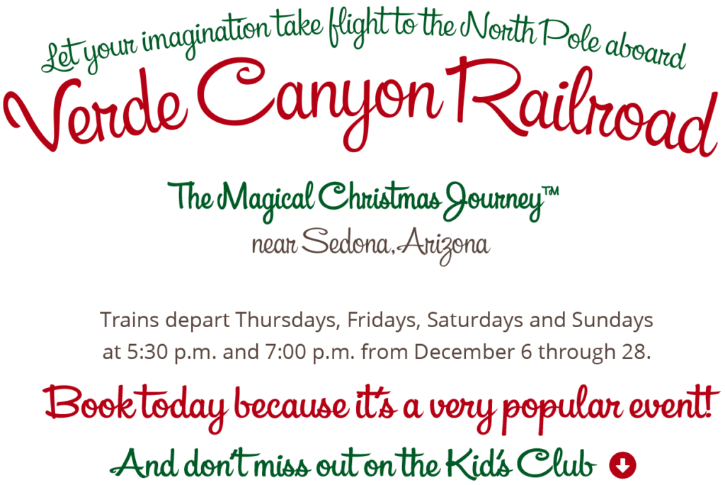 Verde Valley Christmas Events 2020 The Magical Christmas Journey™   Verde Canyon RR, Sedona Area Tours